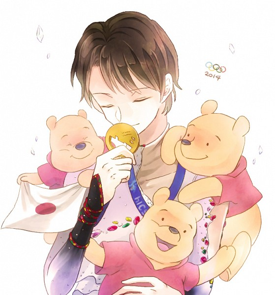 Tags: Anime, Pixiv Id 1546070, Winnie the Pooh, Yuzuru Hanyu, Pooh Bear, Ice Skating, Figure Skating, Fanart, Olympics, Pixiv, Fanart From Pixiv