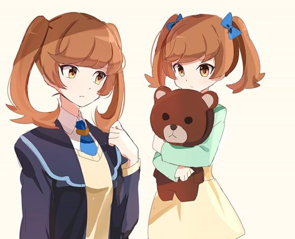 Tags: Anime, joman, Yu-Gi-Oh! VRAINS, Yu-Gi-Oh!, , Zaizen Aoi, Hugging Toy, Yellow Skirt, Orane Eye, Yellow Outerwear, PNG Conversion, Fanart, Pixiv