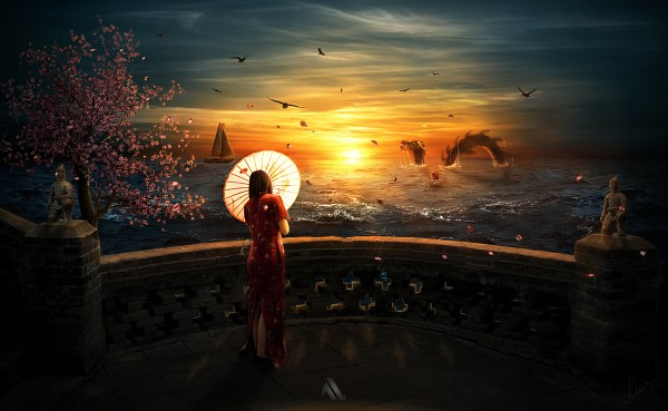 Tags: Anime, Zankay, Boat, Chinese Dragon, Balcony, Original, deviantART