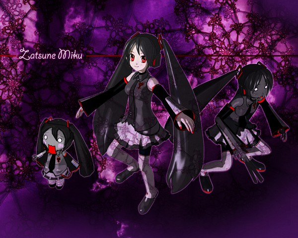 Tags: Anime, Kingdom Hearts, VOCALOID, Hachune Miku, Zatsune Miku, Wallpaper, Heartless