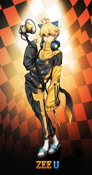 Tags: Anime, Pixiv Id 9569685, VOCALOID, ZeeU, Yellow Armwear, Megaphone (Zeeu), Mobile Wallpaper, PNG Conversion, Pixiv, Fanart, Fanart From Pixiv