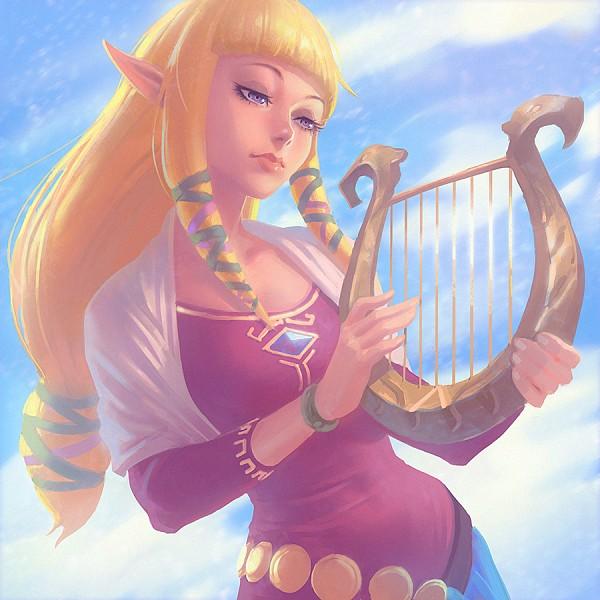 Tags: Anime, Ilya Kuvshinov, Zelda no Densetsu, Zelda no Densetsu: Skyward Sword, Zelda (Skyward Sword), Princess Zelda, Lyre, Pixiv, Fanart From Pixiv, Fanart