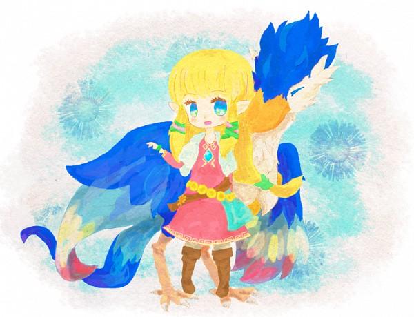 Tags: Anime, Pixiv Id 1293494, Zelda no Densetsu, Zelda no Densetsu: Skyward Sword, Princess Zelda, Loftwing, Zelda (Skyward Sword), Blue Bird, Semi Chibi, Pixiv, Fanart From Pixiv, Fanart