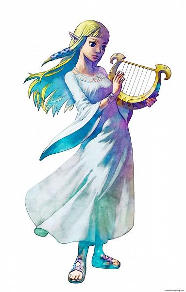 Tags: Anime, Nintendo, Zelda no Densetsu: Skyward Sword, Zelda no Densetsu, Princess Zelda, Zelda (Skyward Sword), Lyre, Official Art, Cover Image, Artist Request, Mobile Wallpaper