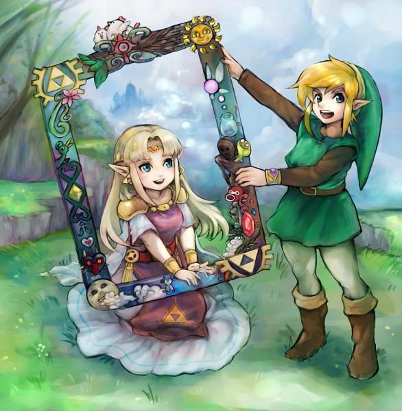 Tags: Anime, Pixiv Id 1367843, Zelda no Densetsu, Zelda no Densetsu: Kamigami no Triforce 2, Zelda (Kamigami no Triforce 2), Link (Kamigami no Triforce 2), Princess Zelda, Link, Pixiv, Fanart From Pixiv, PNG Conversion, Fanart, A Link Between Worlds