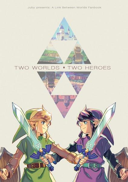 Tags: Anime, juby, Zelda no Densetsu, Zelda no Densetsu: Kamigami no Triforce 2, Zelda (Kamigami no Triforce 2), Princess Hilda, Link (Kamigami no Triforce 2), Princess Zelda, Link, Ravio, Master Sword, Purple Headwear, Purple Hat, A Link Between Worlds
