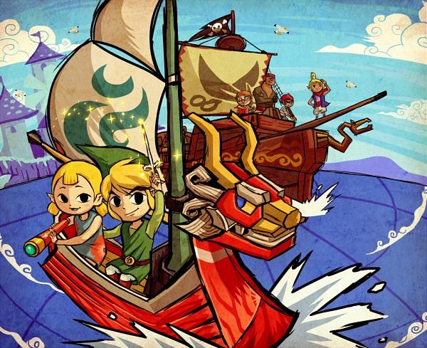Tags: Anime, flan (Artist), Zelda no Densetsu, Zelda no Densetsu: Kaze no Takuto, Gonzo (Zelda no Densetsu), Link (Kaze no Takuto), Tetra, Aryll, Zuko (Zelda no Densetsu), Link, Mako (Zelda no Densetsu), King of Red Lions, Boat, The Legend Of Zelda: The Wind Waker