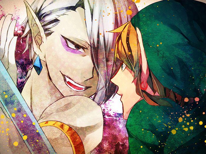 Tags: Anime, Akuma Ringo, Zelda no Densetsu, Zelda no Densetsu: Skyward Sword, Link (Skyward Sword), Link, Ghirahim, Eyeliner, Pixiv, Fanart From Pixiv, Fanart