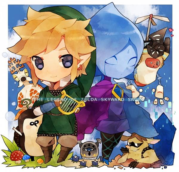 Tags: Anime, Pixiv Id 1922895, Zelda no Densetsu, Link, Ledd (Skyward Sword), Kikwi, Parella, Mogma (Skyward Sword), Fi, Ancient Robot, Link (Skyward Sword), Lyre, Pixiv