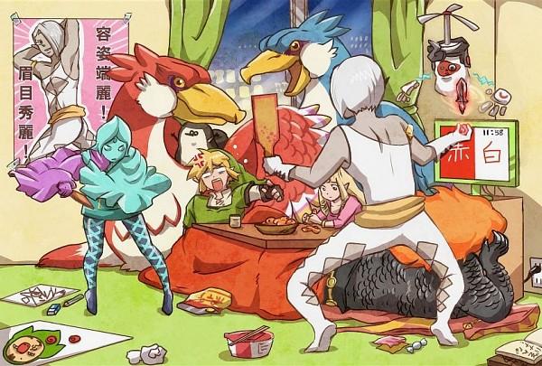 Tags: Anime, Mackerel (Artist), Zelda no Densetsu, Zelda no Densetsu: Skyward Sword, Ancient Robot, Loftwing, Princess Zelda, Demise, Fi, Link, Link (Skyward Sword), Ghirahim, Zelda (Skyward Sword)