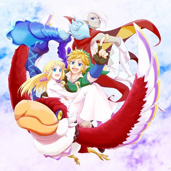 Tags: Anime, Saiba (Henrietta), Zelda no Densetsu: Skyward Sword, Zelda no Densetsu, Princess Zelda, Fi, Link, Link (Skyward Sword), Ghirahim, Zelda (Skyward Sword), Loftwing, Lyre, Fanart