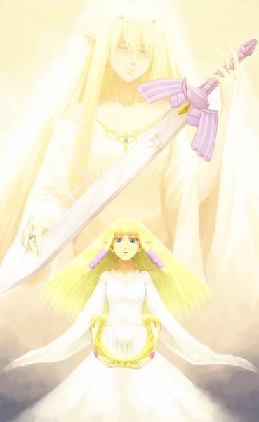Tags: Anime, Saiba (Henrietta), Zelda no Densetsu: Skyward Sword, Zelda no Densetsu, Goddess Hylia, Zelda (Skyward Sword), Princess Zelda, Master Sword, Lyre, Fanart From Pixiv, Pixiv, Mobile Wallpaper, Fanart