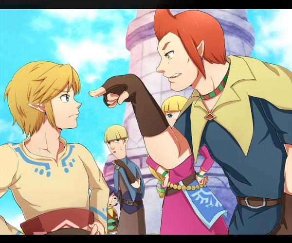 Tags: Anime, Pixiv Id 3845604, Zelda no Densetsu, Zelda no Densetsu: Skyward Sword, Cawlin, Link (Skyward Sword), Zelda (Skyward Sword), Princess Zelda, Link, Strich, Groose, Fanart From Pixiv, Fanart