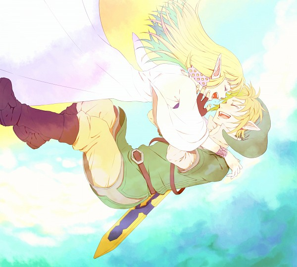 Tags: Anime, Saiba (Henrietta), Zelda no Densetsu, Zelda no Densetsu: Skyward Sword, Link (Skyward Sword), Princess Zelda, Zelda (Skyward Sword), Link, Fanart From Pixiv, Replacement Request, Fanart, Pixiv