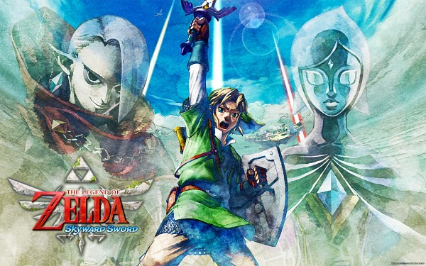 Tags: Anime, Nintendo, Zelda no Densetsu: Skyward Sword, Zelda no Densetsu, Link (Skyward Sword), Fi, Ghirahim, Link, Master Sword, Artist Request, Official Art, Wallpaper