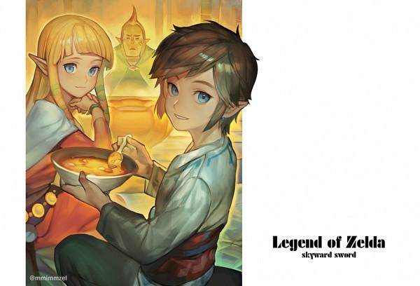 Tags: Anime, Pixiv Id 6867660, Zelda no Densetsu: Skyward Sword, Zelda no Densetsu, Link, Groose, Link (Skyward Sword), Zelda (Skyward Sword), Princess Zelda, Holding Spoon, Bowl, PNG Conversion, Fanart