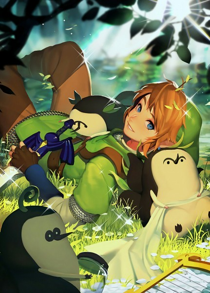 Tags: Anime, Pixiv Id 6867660, Zelda no Densetsu: Skyward Sword, Zelda no Densetsu, Link (Skyward Sword), Kikwi, Link, Laying on Grass, Tunic, Lyre, Master Sword, Mobile Wallpaper, PNG Conversion