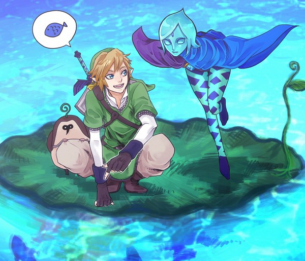 Tags: Anime, Pixiv Id 3733182, Zelda no Densetsu: Skyward Sword, Zelda no Densetsu, Link (Skyward Sword), Kikwi, Fi, Link, Tunic, Master Sword, Lily Pads, Fanart From Pixiv, Pixiv