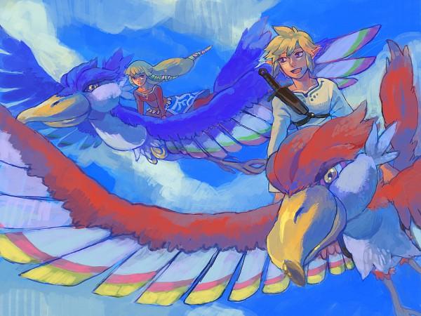Tags: Anime, Pixiv Id 253737, Zelda no Densetsu, Zelda no Densetsu: Skyward Sword, Link (Skyward Sword), Zelda (Skyward Sword), Princess Zelda, Loftwing, Link, Pixiv, Fanart From Pixiv, Wallpaper, Fanart
