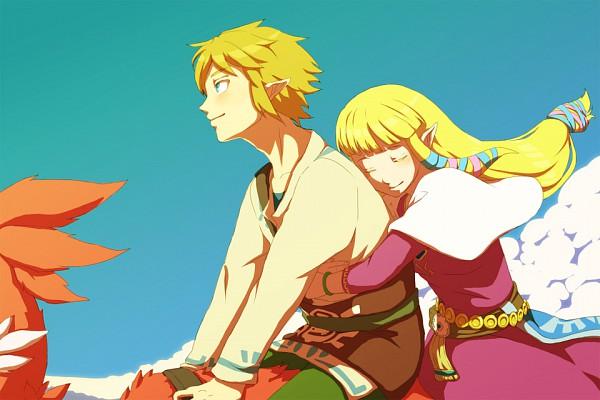 Tags: Anime, Saiba (Henrietta), Zelda no Densetsu: Skyward Sword, Zelda no Densetsu, Zelda (Skyward Sword), Princess Zelda, Loftwing, Link, Link (Skyward Sword), Fanart, Pixiv, Fanart From Pixiv