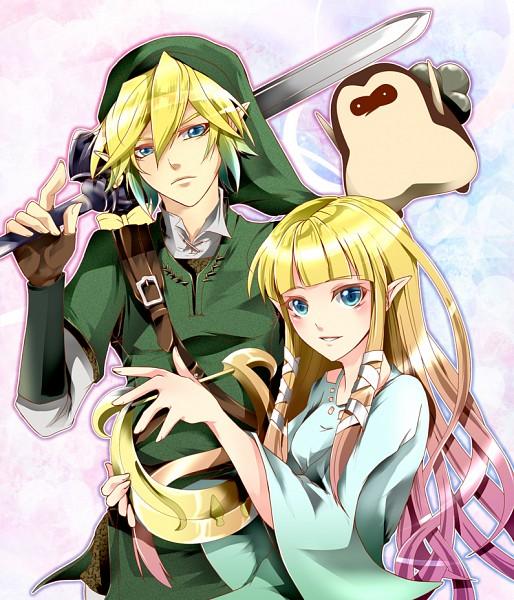 Tags: Anime, Takeda_frkz, Zelda no Densetsu, Zelda no Densetsu: Skyward Sword, Kikwi, Link, Link (Skyward Sword), Zelda (Skyward Sword), Princess Zelda, Tunic, Lyre, Master Sword, Fanart