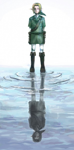 Tags: Anime, Pixiv Id 795747, Zelda no Densetsu: Toki no Ocarina, Zelda no Densetsu, Dark Link, Link, Link (Toki no Ocarina), Walking On Water, Different Reflection, Pixiv