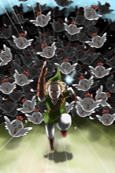 Tags: Anime, Legemd, Zelda no Densetsu: Toki no Ocarina, Zelda no Densetsu, Navi, Link (Toki no Ocarina), Link, Chicken, Fanart, Pixiv, Fanart From Pixiv, Mobile Wallpaper
