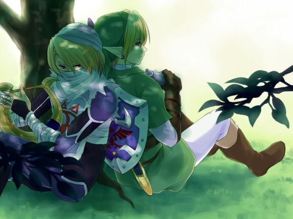 Tags: Anime, Hanasaki Arumu, Zelda no Densetsu, Zelda no Densetsu: Toki no Ocarina, Link (Toki no Ocarina), Sheik, Link, 1400x1050 Wallpaper, Harp, Ocarina, Lyre, Sheikah, Pixiv