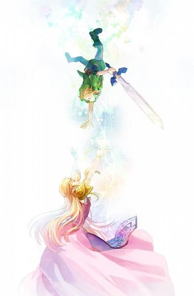 Tags: Anime, sg2119, Zelda no Densetsu: Toki no Ocarina, Zelda no Densetsu, Princess Zelda, Link, Zelda (Toki no Ocarina), Link (Toki no Ocarina), Young Link, Gown, Bright Colors, Tunic, Master Sword