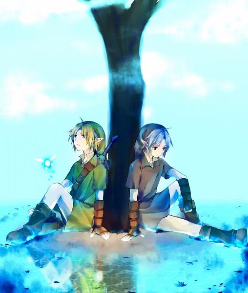 Tags: Anime, Yuzudaze, Zelda no Densetsu: Toki no Ocarina, Zelda no Densetsu, Navi, Dark Link, Link, Link (Toki no Ocarina), Master Sword, Under A Tree, Tunic, Pixiv, Fanart