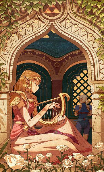 Tags: Anime, K141, Zelda no Densetsu: Toki no Ocarina, Zelda no Densetsu, Impa (Toki no Ocarina), Impa, Zelda (Toki no Ocarina), Princess Zelda, Lyre, Bridal Gauntlets, Sheikah, Tumblr, Fanart