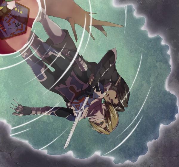 Tags: Anime, Hanasaki Arumu, Zelda no Densetsu: Toki no Ocarina, Zelda no Densetsu, Sheik, Link, Dark Link, Master Sword, Puddle, Different Reflection, Fanart From Pixiv, Pixiv, Fanart