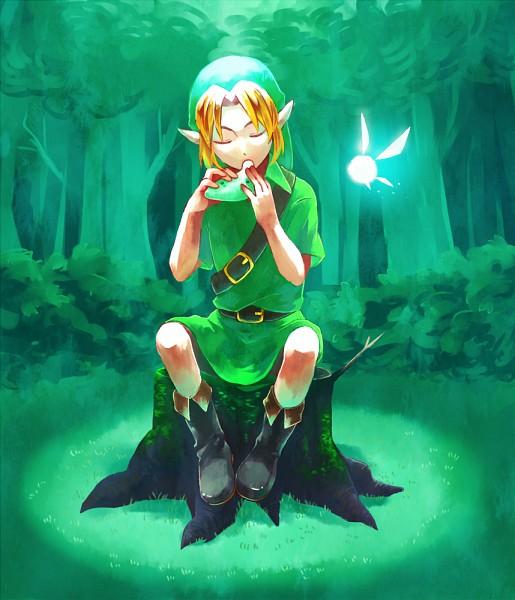 Tags: Anime, Pixiv Id 709074, Zelda no Densetsu, Zelda no Densetsu: Toki no Ocarina, Link, Link (Toki no Ocarina), Young Link, Navi, Ocarina, Tree Stump, Pixiv, Fanart, Fanart From Pixiv