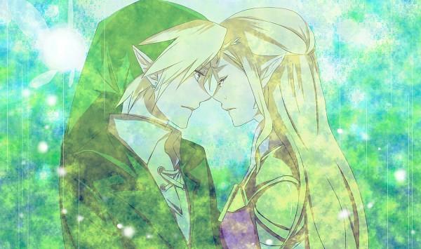 Tags: Anime, Saiba (Henrietta), Zelda no Densetsu: Toki no Ocarina, Zelda no Densetsu, Link, Zelda (Toki no Ocarina), Link (Toki no Ocarina), Navi, Princess Zelda, Forehead Against Forehead, Fanart From Pixiv, Pixiv, Fanart