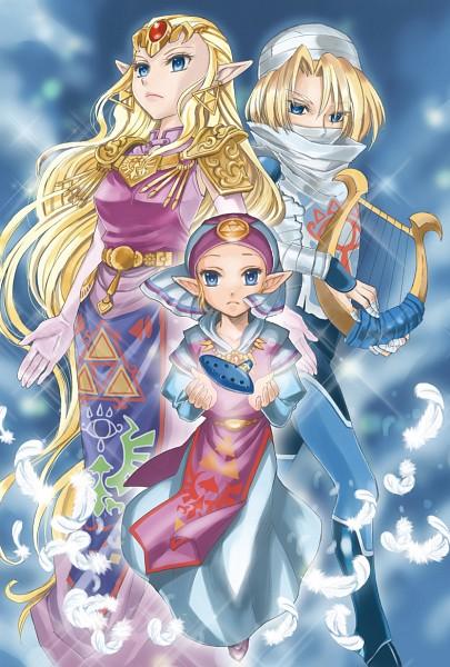 Tags: Anime, Pixiv Id 592072, Zelda no Densetsu: Toki no Ocarina, Zelda no Densetsu, Princess Zelda, Zelda (Toki no Ocarina), Young Zelda, Sheik, Red Gem, Lyre, Ocarina, Triforce, Bandaged Fingers