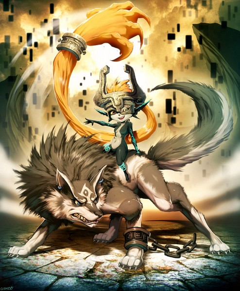 Tags: Anime, GENZOMAN, Zelda no Densetsu, Zelda no Densetsu: Twilight Princess, Midna, Link, Wolf Link, Link (Twilight Princess), Pixels, Twili, Half Mask, Fanart, Fanart From DeviantART
