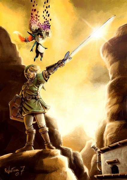 Tags: Anime, Rafaelventura, Zelda no Densetsu, Zelda no Densetsu: Twilight Princess, Link (Twilight Princess), Midna, Link, Master Sword, Pixels, Fanart, deviantART, Mobile Wallpaper, Fanart From DeviantART