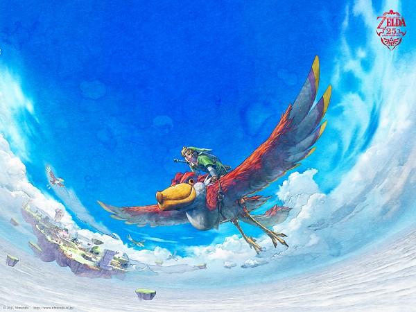 Tags: Anime, Nintendo, Zelda no Densetsu, Zelda no Densetsu: Skyward Sword, Loftwing, Link (Skyward Sword), Link, Bird Riding, Official Art, The Legend Of Zelda