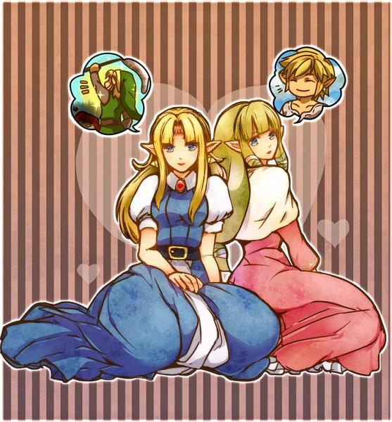 Tags: Anime, Suzuno (Kazahanasu), Zelda no Densetsu, Zelda no Densetsu: Skyward Sword, Zelda no Densetsu: Kamigami no Triforce, Link (Skyward Sword), Zelda (Skyward Sword), Princess Zelda, Link (Kamigami no Triforce), Link, Zelda (Kamigami no Triforce), Triforce, Fanart From Pixiv, The Legend Of Zelda