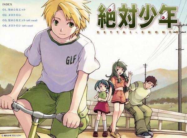 Tags: Anime, Tobe Sunaho, Zettai Shonen, Aizawa Ayumu, Sakakura Ryousuke, Miyama Miki, Miyama Miku, Utility Pole, Scan, CD (Source), Official Art, Absolute Boy