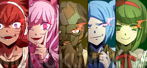 Tags: Anime, Pixiv Id 4211327, Zettai Zetsubou Shoujo - Danganronpa Another Episode, Daimon Masaru (Dangan Ronpa), Utsugi Kotoko, Towa Monaka, Kemuri Jatarou, Shingetsu Nagisa, Fanart From Pixiv, Pixiv, Facebook Cover, Fanart, Danganronpa Another Episode: Ultra Despair Girls