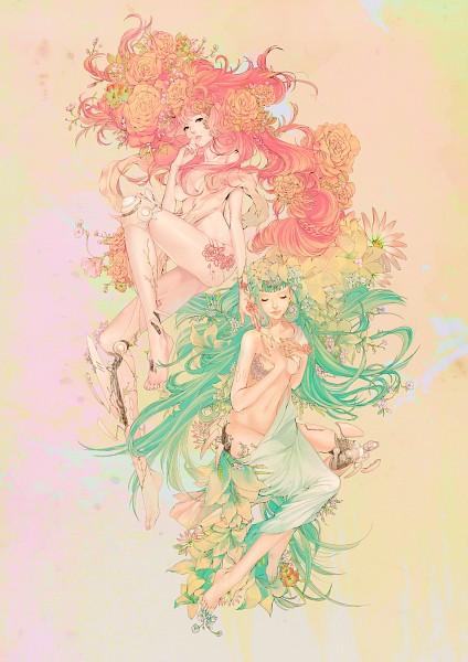 Tags: Anime, Zizizy, Green Flower, Original, Mobile Wallpaper, Pixiv