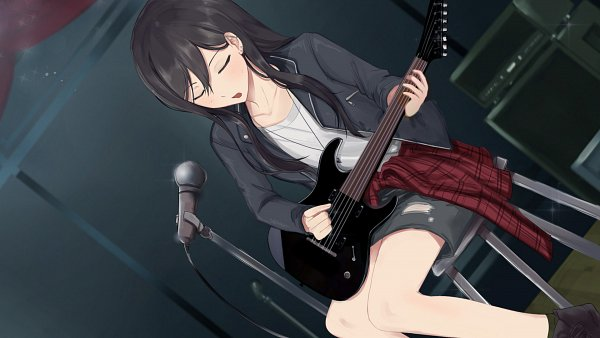 Tags: Anime, Love Ribbon, Zoey (Love Ribbon), Jacket Around Waist, Playing Guitar, HD Wallpaper, CG Art
