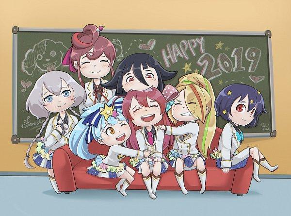 Tags: Anime, Wankonyanko, Zombieland Saga, Shion No Ou, Yamada Tae, Hoshikawa Lily, Yuugiri (Zombieland Saga), Saori Nikaidou, Minamoto Sakura, Franchouchou, Fanart, Happy 2019