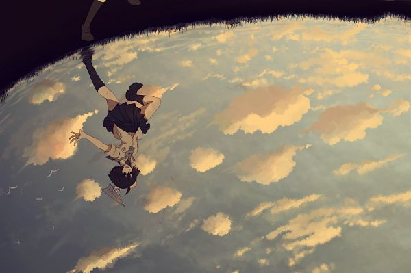 Tags: Anime, ehl, V Bird, Water Reflection, Paper Airplane, Pixiv, Original