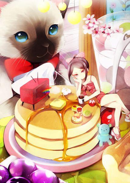 Tags: Anime, hakusai, Butter, Jello, Honey, Pancakes, Bright Colors, Sugar, Hanging, Pixiv, Original, Mobile Wallpaper