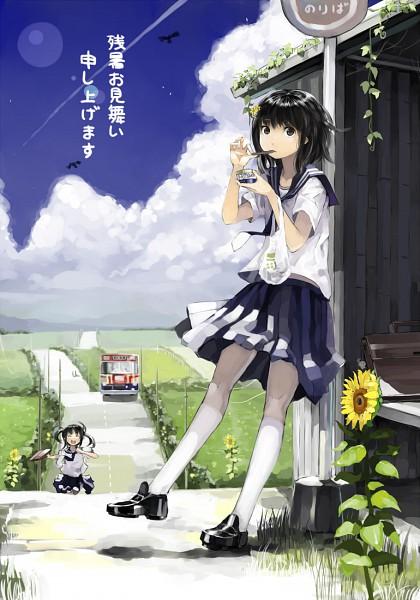 Tags: Anime, nauribon, Bus Stop, Mobile Wallpaper, Pixiv, Original