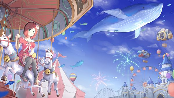 Tags: Anime, Tofumang, osu!, Pippi, Roller Coaster, Amusement Park, Whale, Fanart, Twitter, Wallpaper