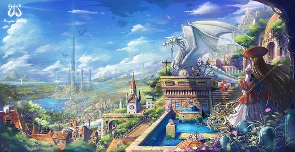 Tags: Anime, saber 01, Eternita, Banner, Waterfall, Fountain, Church, Crucifix, Tower, Facebook Cover, Pixiv