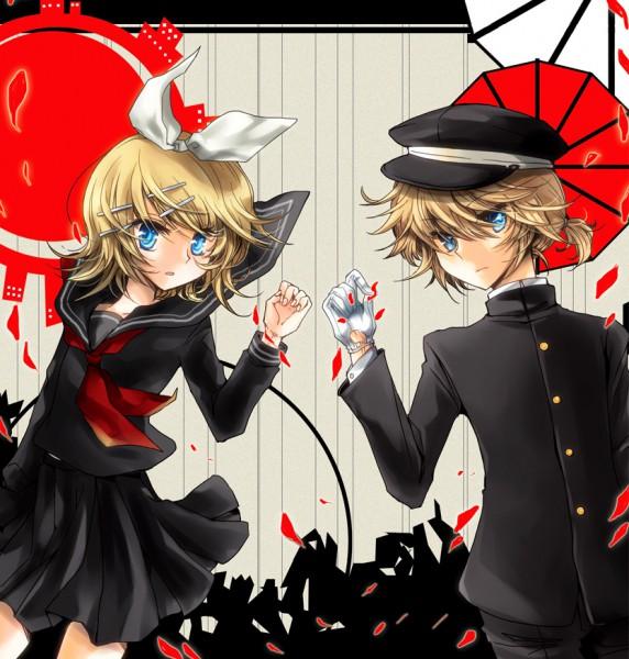 Tags: Anime, Pixiv Id 315295, VOCALOID, Kagamine Rin, Kagamine Len, Fanart, siGrE, Kagamine Mirrors
